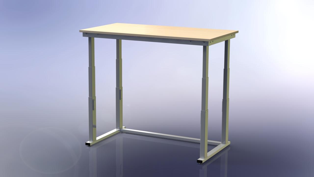 výškově stavitelný stůl v horní poloze